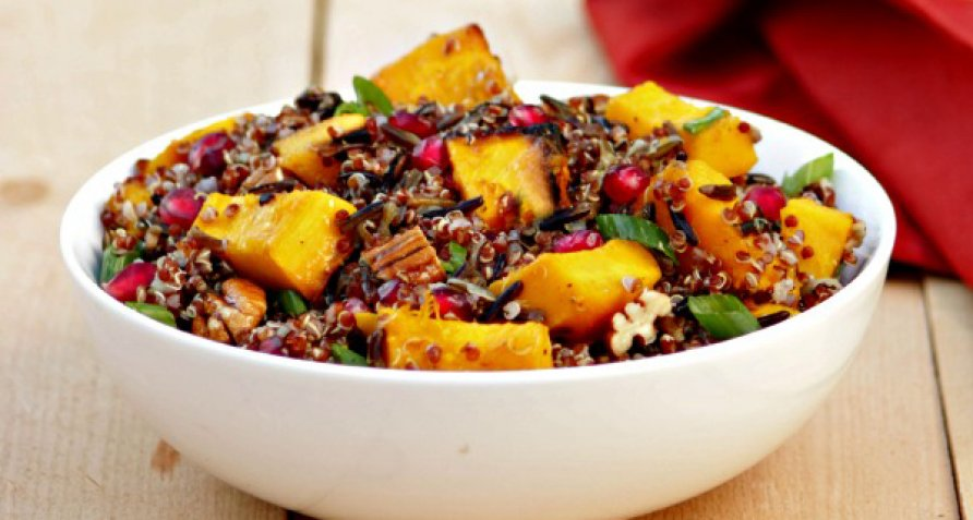 Grill Roasted Pumpkin And Red Quinoa Salad Sides Recipes